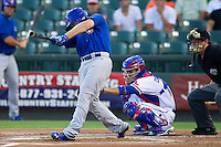 Iowa Cubs outfielder Ty Wright (2) swings the bat against the Round Rock Express in the Pacific Coast League baseball game on July 21, 2013 at the Dell Diamond in Round Rock, Texas. Round Rock defeated Iowa 3-0. (Andrew Woolley/Four Seam Images)