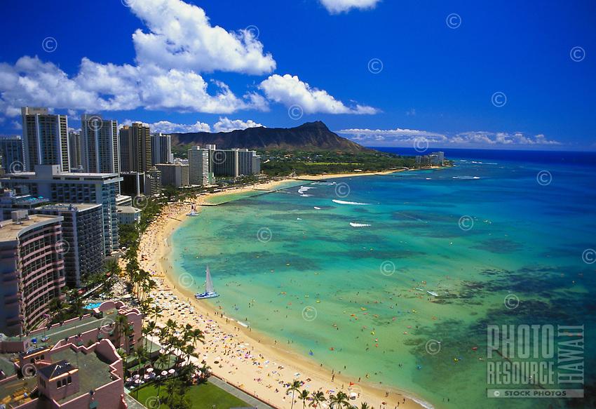 Waikiki beach with Diamond head and hotels, Oahu