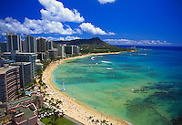 Waikiki beach with Diamond head and hotels, Oahu