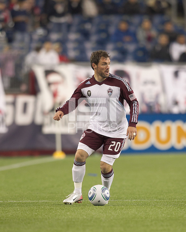 Colorado Rapids midfielder Jamie Smith (20) looks to pass. In a Major League Soccer (MLS) match, the New England Revolution tied the Colorado Rapids, 0-0, at Gillette Stadium on May 7, 2011.