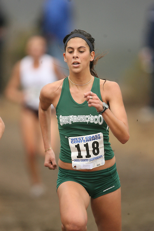BELMONT, CA - NOVEMBER 1:  Sophia Ditty of the USF Dons during the West Coast Conference Women's Cross Country Championships on November 1, 2008 in Belmont, California.