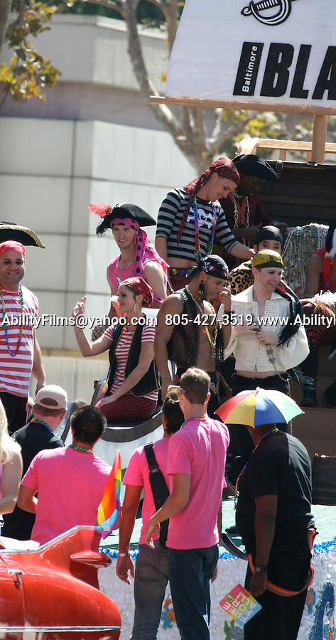 "AbilityFilms@yahoo.com  805-427-3519.www.AbilityFilms.com.9-13-07 Thursday Drew Barrymore dressed up like a pirate while riding on a float in the streets of downtown L.A while filming her new movie, ""He's Just not that into you"""
