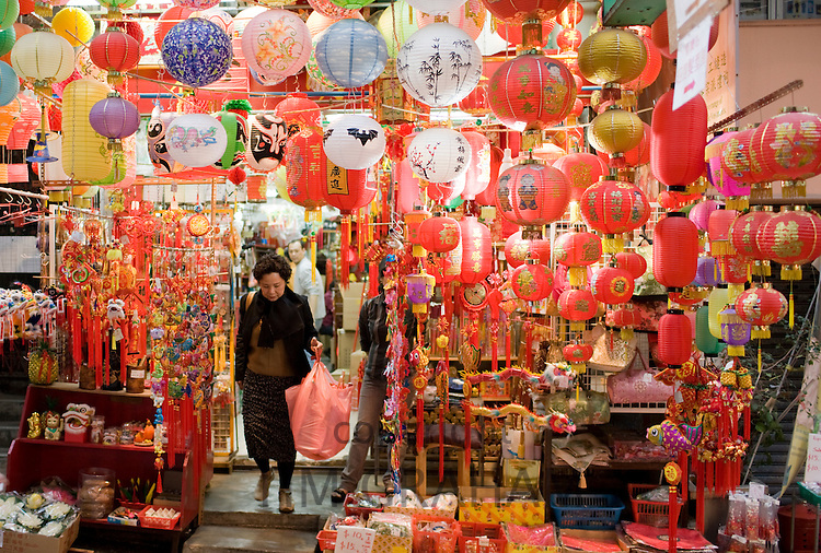 Lanterns, ornaments and souvenirs on sale in traditional Graham Street market, Sheung Wan, Hong Kong, China