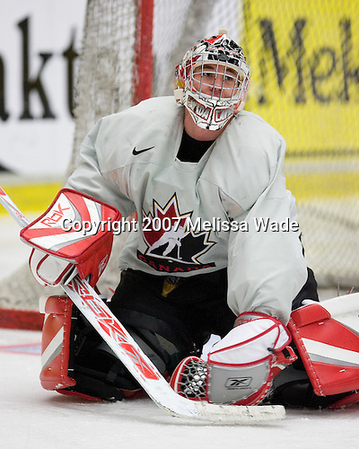 Leland Irving (Swan Hills, Alberta - Everett Silvertips) participates in Canada's practice on Tuesday, January 2, 2007, at Ejendals Arena in Leksand, Sweden during the 2007 World Junior Championship.  Team Canada would go on to win the Gold on January 5, 2007.<br />