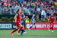 Boston, MA - Friday May 19, 2017: Emily Sonnett and Rosie White during a regular season National Women's Soccer League (NWSL) match between the Boston Breakers and the Portland Thorns FC at Jordan Field.
