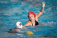 STANFORD, CA - February 4, 2018: Bella Baldridge at Avery Aquatic Center. The Stanford Cardinal defeated Long Beach State 14-2.