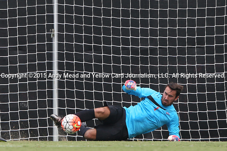 30 August 2015: Saint Mary's Lucas Champenois makes a save. The Elon University Phoenix played the Saint Mary's College Gaels at Koskinen Stadium in Durham, NC in a 2015 NCAA Division I Men's Soccer match. Elon won the game 1-0.