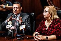 Enrique Velazquez Contreras, rector de la Universidad de Sonora y Rita Plancarte vicerrectora de la Unison.  10abril2018.  <br /> (Photo:Luis Gutierrez/ NortePhoto.com)<br /> <br /> pclaves:  Universidad de Sonora, UNISON