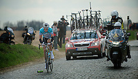 De Ronde van Vlaanderen 2012..Niki Terpstra on the Holleweg cobbles trying to catch up with the peloton