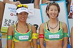 (L to R) Takemi Nishibori, Satoko Urata, MAY 6, 2012 - Beach Volleyball : JBV Tour 2012 Sports Club NAS Open  Women's victory ceremony at Odaiba Beach, Tokyo, Japan. (Photo by Yusuke Nakanishi/AFLO SPORT) [1090]