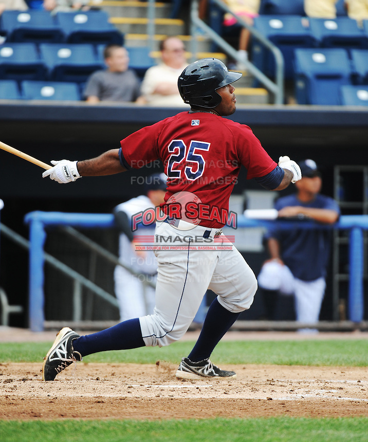 Mahoning Valley Scrappers infielder Nellie Rodriguez (25) during game against the Staten Island Yankees at Richmond County Bank Ballpark at St.George on July 22, 2013 in Staten Island, NY.  Mahoning Valley defeated Staten Island 8-2.  Tomasso DeRosa/Four Seam Images