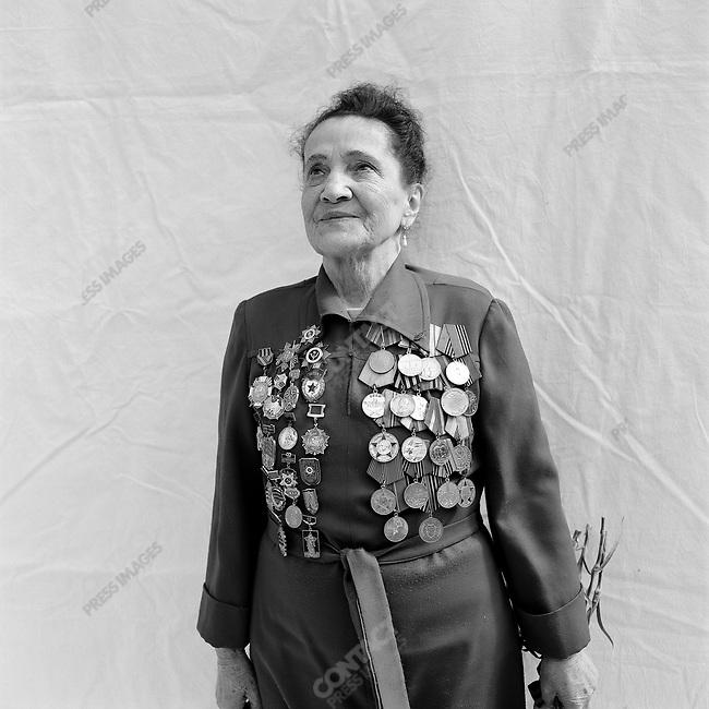 WWII veteran during Victory Day celebrations, Lyudmila Nikolayevna Belenstova, b. 1924, Nurse. Moscow, Russia, May 9, 2008