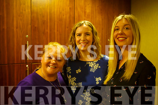 Sadie Evans (Tipperary), Rosemary Sheehan (Castleisland) and Laura Sheehy (Lixnaw) attending the Women's Health Care Event by SamMcCauley Chemist, Tralee in the Manor Hotel on Thursday evening last.