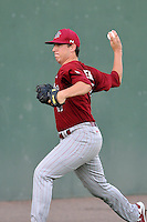 Taylor Widener (17) of the South Carolina Gamecocks delivers a pitch in a game against the Furman Paladins on Wednesday, April 20, 2016, at Fluor Field at the West End in Greenville, South Carolina. (Tom Priddy/Four Seam Images)