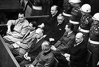 Nuremberg Trials. Exact Date Shot Unknown Defendants in their dock; Goering, Hess, von Ribbentrop, and Keitel in front row,  ca.  1945-46.  (WWII War Crimes Records)