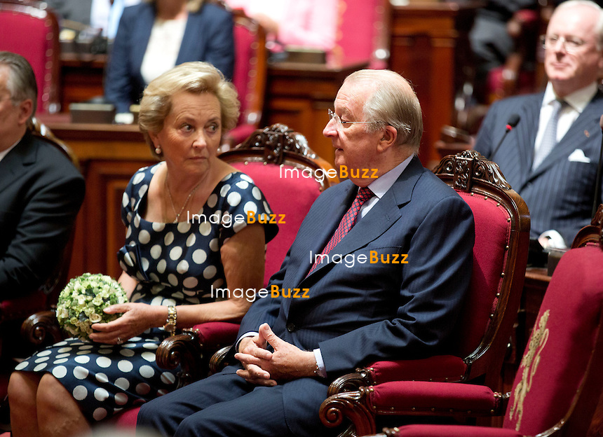 BRUSSELS, BELGIUM: King Albert II of Belgium and Queen Paola of Belgium pictured during the inauguration of sculptures of the King and the Queen at the senate in the federal parliament in Brussels.<br /> July 16, 2013.