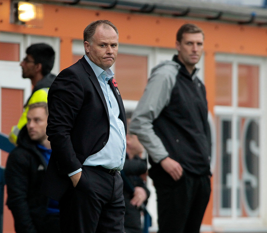 Blackpool manager Neil McDonald looks glum during the game<br /> <br /> Photographer David Shipman/CameraSport<br /> <br /> Football - The Football League Sky Bet League One - Bury v Blackpool - Saturday 31st October 2015 - Gigg Lane - Bury <br /> <br /> &copy; CameraSport - 43 Linden Ave. Countesthorpe. Leicester. England. LE8 5PG - Tel: +44 (0) 116 277 4147 - admin@camerasport.com - www.camerasport.com
