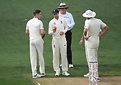23rd March 2018, Eden Park, Auckland, New Zealand; International Test Cricket, New Zealand versus England, day 2;  England captain Joe Root looks at the ball