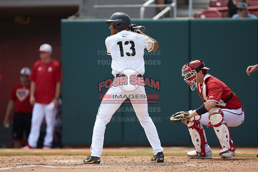 Anfernee Crompton (13) of the Army Black Knights at bat against the North Carolina State Wolfpack at Doak Field at Dail Park on June 3, 2018 in Raleigh, North Carolina. The Wolfpack defeated the Black Knights 11-1. (Brian Westerholt/Four Seam Images)