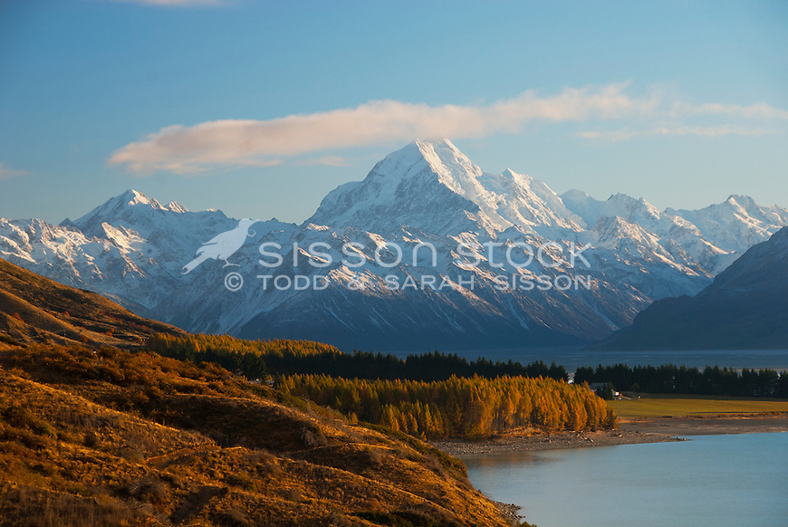 Mount Cook looms large on an Autumn Day in the McKenzie Country. South Island.