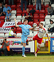 Michael Gash of York City and Scott Laird of Stevenage Borough challenge during the Blue Square Premier match between Stevenage Borough and York City at the Lamex Stadium, Broadhall Way, Stevenage on Saturday 24th April, 2010..© Kevin Coleman 2010 ..