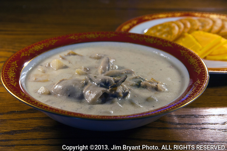 New England Clam Chowder with clams, oysters, potatoes and onions.   ©2013. Jim Bryant Photo. ALL RIGHTS RESERVED.