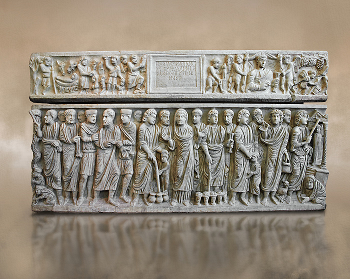 Roman relief sculpture on the Christian sarcophagus side od Marcus Claudianus depicting scenes from  the new testament , circa 330 - 335 AD from the via della Lungara near S.Giacomo in Settimiana, Rome, Italy. National Roman Musuem, Rome.