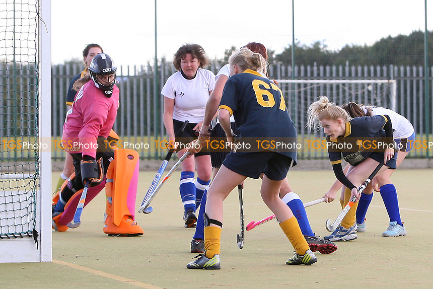 Romford score their sixth goal - Romford HC Ladies vs Southend HC Ladies 2nd XI - Essex Hockey League at Robert Clack Leisure Centre - 13/10/12 - MANDATORY CREDIT: Gavin Ellis/TGSPHOTO - Self billing applies where appropriate - 0845 094 6026 - contact@tgsphoto.co.uk - NO UNPAID USE.