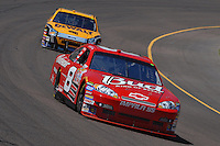 Apr 19, 2007; Avondale, AZ, USA; Nascar Nextel Cup Series driver Dale Earnhardt Jr (8) leads Matt Kenseth (17) during practice for the Subway Fresh Fit 500 at Phoenix International Raceway. Mandatory Credit: Mark J. Rebilas