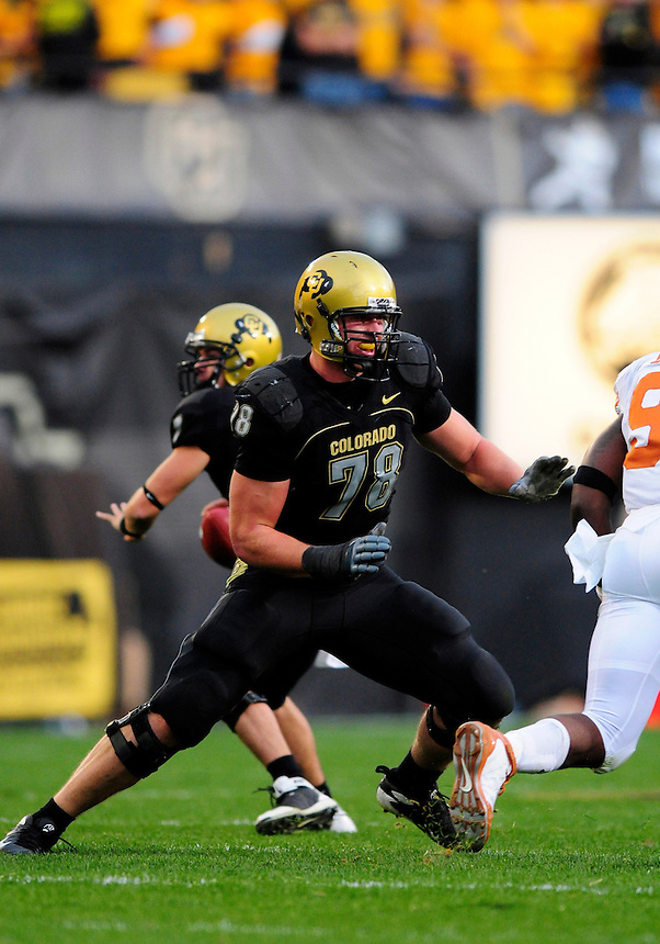 04 October 2008: Colorado tackle Nate Solder (78) blocks against Texas. The Texas Longhorns defeated the Colorado Buffaloes 38-14 at Folsom Field in Boulder, Colorado. For Editorial Use Only