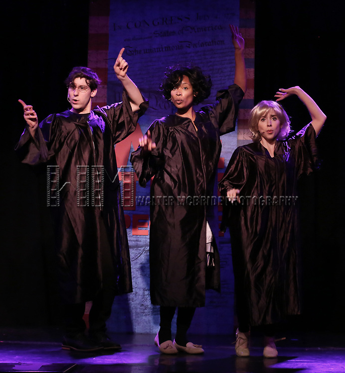 Richard Spitaletta, Aiesha Dukes and Mia Weinberger perform onstage during the 'ME THE PEOPLE: The Trump America Musical' Press Preview Presentation at The Triad Theater on June 21, 2017 in New York City.