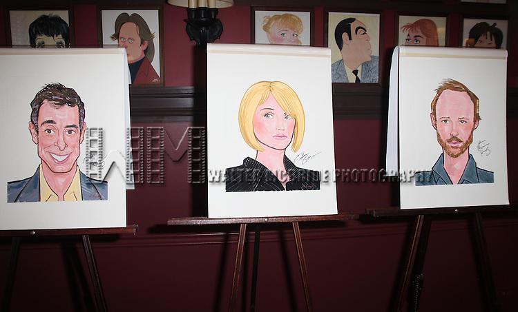 Sardi's unveils Caricatures of 'The Normal Heart' Tony Award Nominees Ellen Barkin, John Benjamin Hickey & Joe Mantello at Sardi's in New York City.