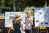 Anna Holm, Community Partners<br /> 2018 InternLA student participants share their poster presentations about their summer experiences working as interns in Los Angeles. Summer Experience Expo, Sept. 13, 2018 in the Academic Quad. Hosted by Career Services.<br /> (Photo by Marc Campos, Occidental College Photographer)