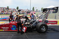 May 19, 2012; Topeka, KS, USA: NHRA crew members for top fuel dragster driver Scott Palmer during qualifying for the Summer Nationals at Heartland Park Topeka. Mandatory Credit: Mark J. Rebilas-