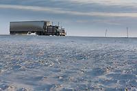 Semi tractor trailer, trucker travels the James Dalton Highway, the Haul road, near Prudhoe Bay, Alaska.