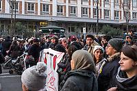 Roma, 28 gennaio 2017. La protesta dei  movimenti per il diritto all'abitare in seguito allo sgombero di Colle Monfortani.