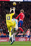 Atletico de Madrid Antoine Griezmann and Real Madrid Kiko Casilla during La Liga match between Atletico de Madrid and Real Madrid at Wanda Metropolitano in Madrid, Spain. November 18, 2017. (ALTERPHOTOS/Borja B.Hojas)