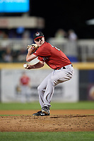 Erie SeaWolves relief pitcher Nolan Blackwood (23) delivers a pitch during a game against the Harrisburg Senators on August 29, 2018 at FNB Field in Harrisburg, Pennsylvania.  Harrisburg defeated Erie 5-4.  (Mike Janes/Four Seam Images)
