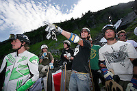 Planning for a post competition fun and film run, Alex lyngaas gives directions. The first ever Norwegian Longboarding Championship was held during the Extreme Sport Week, an annual event that draws adrenalin junkies to the small Norwegian mountain town of Voss. © Fredrik Naumann