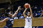 22 November 2016: Duke's Leaonna Odom (5) shoots over Old Dominion's Destinee Young (40). The Duke University Blue Devils hosted the Old Dominion University Monarchs at Cameron Indoor Stadium in Durham, North Carolina in a 2016-17 NCAA Division I Women's Basketball game. Duke won the game 92-64.