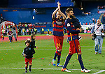 FC Barcelona's Gerard Pique celebrates with his sons and Jeremy Mathieu (c) the victory in the Spanish Kings Cup Final match. May 22,2016. (ALTERPHOTOS/Acero)