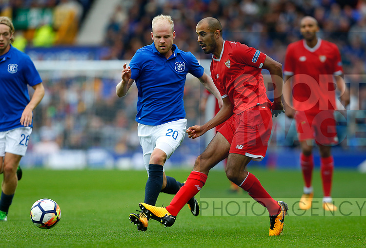 Everton's Davy Klaassen (L) in action with Sevilla's Guido Pizarro during the pre season friendly match at Goodison Park Stadium, Liverpool. Picture date 6th August 2017. Picture credit should read: Paul Thomas/Sportimage