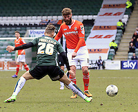 Paddy McCourt of Luton Town plays the ball out wide during the Sky Bet League 2 match between Plymouth Argyle and Luton Town at Home Park, Plymouth, England on 19 March 2016. Photo by Liam Smith.