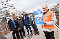 PIctured at Carlton Station holding the new Castle Line Timetable is Station Adopter Tony Cave, whilst looking on from left are Jim Bamford, Rail Manager for Notts County Council, Cllr John Clarke, Leader of Gedling Borough Council, Malcolm Payne, Deputy Leader of Gedling Borough Council,  and Jane Cheatle, Customer Services Manager for East Midlands Trains