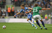 West Bromwich Albion's Craig Dawson (left) battles with Brighton &amp; Hove Albion's Solly March (right) <br /> <br /> Brighton 3 - 1 West Bromwich<br /> <br /> Photographer David Horton/CameraSport<br /> <br /> The Premier League - Brighton and Hove Albion v West Bromwich Albion - Saturday 9th September 2017 - The Amex Stadium - Brighton<br /> <br /> World Copyright &copy; 2017 CameraSport. All rights reserved. 43 Linden Ave. Countesthorpe. Leicester. England. LE8 5PG - Tel: +44 (0) 116 277 4147 - admin@camerasport.com - www.camerasport.com
