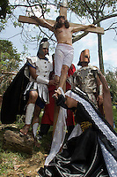 Reenactment of Jesus Christ's crucifixion on Good Friday in commune Robledo western center of Medellin, Colombia. 02/04/2012. Photo by Fredy Amariles/VIEWpress.