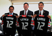 WASHINGTON, DC-JULY 10,2012:  Erick Thohir, Jason Levien and Will Chang during a D.C. United ownership press conference at the POV Lounge in the W Hotel, Washington, DC.