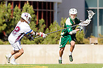 Los Angeles, CA 02/06/16 - John Corbolotti (Cal Poly #2) and Jackson Myers (Loyola Marymount #12)in action during the Cal Poly SLO Mustangs vs Loyola Marymount Lions MCLA Men's Lacrosse game.  Cal Poly defeated LMU 24-5