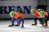 SCHAATSEN: DORDRECHT: Sportboulevard, Korean Air ISU World Cup Finale, 10-02-2012, Niels Kerstholt NED (61), Viktor Knoch HUN (33), Qiuwen Gong CHN (12), ©foto: Martin de Jong
