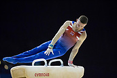 21st March 2018, Arena Birmingham, Birmingham, England; Gymnastics World Cup, day one, mens competition; Dominick Cunningham (GBR) on the Pommel Horse during his competition routine